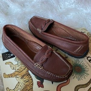 LL Bean Brown leather slip on driving loafers